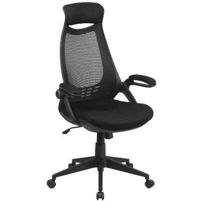 Flash Furniture High Back Black Mesh Executive Swivel Office Chair with Flip-Up Arms