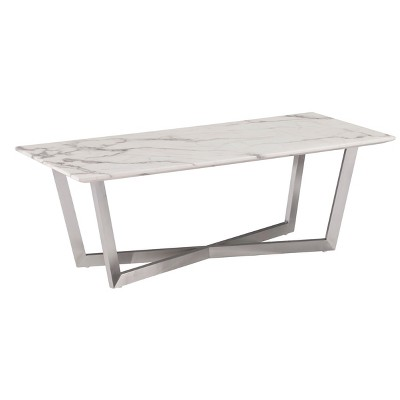 Wexham Faux Marble Cocktail Table - Soft Ivory With Gray - Aiden Lane