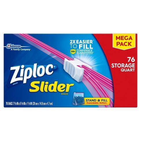 Ziploc Mega Storage Slider Quart - 76ct - image 1 of 4