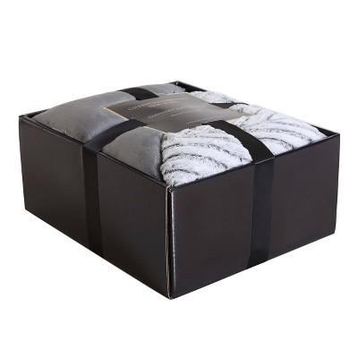 Gift Boxed Throw Blanket Gray Chevron - Christian Siriano