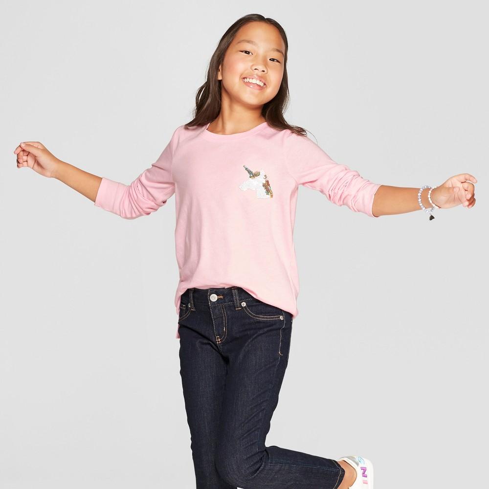 Girls' Long Sleeve Flip Sequin Unicorn T-Shirt - Cat & Jack Light Pink XL
