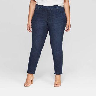 Women's Plus Size Pull on Jeggings - Ava & Viv™ Dark Wash 24W