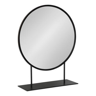 "18"" x 22"" Rouen Round Metal Table Mirror Black - Kate and Laurel"