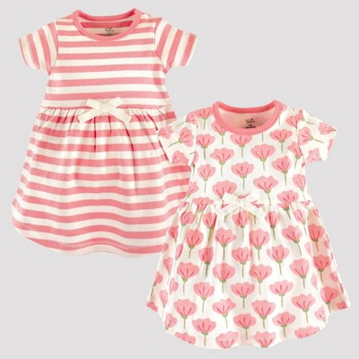 Touched by Nature Baby Girls' 2pk Striped & Tulip Floral Organic Cotton Dress - Pink 3-6M