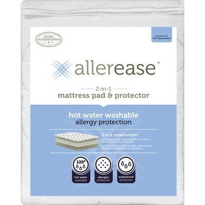 AllerEase 2-in-1 Waterproof Allergy Protection Mattress Pad-White (Twin)