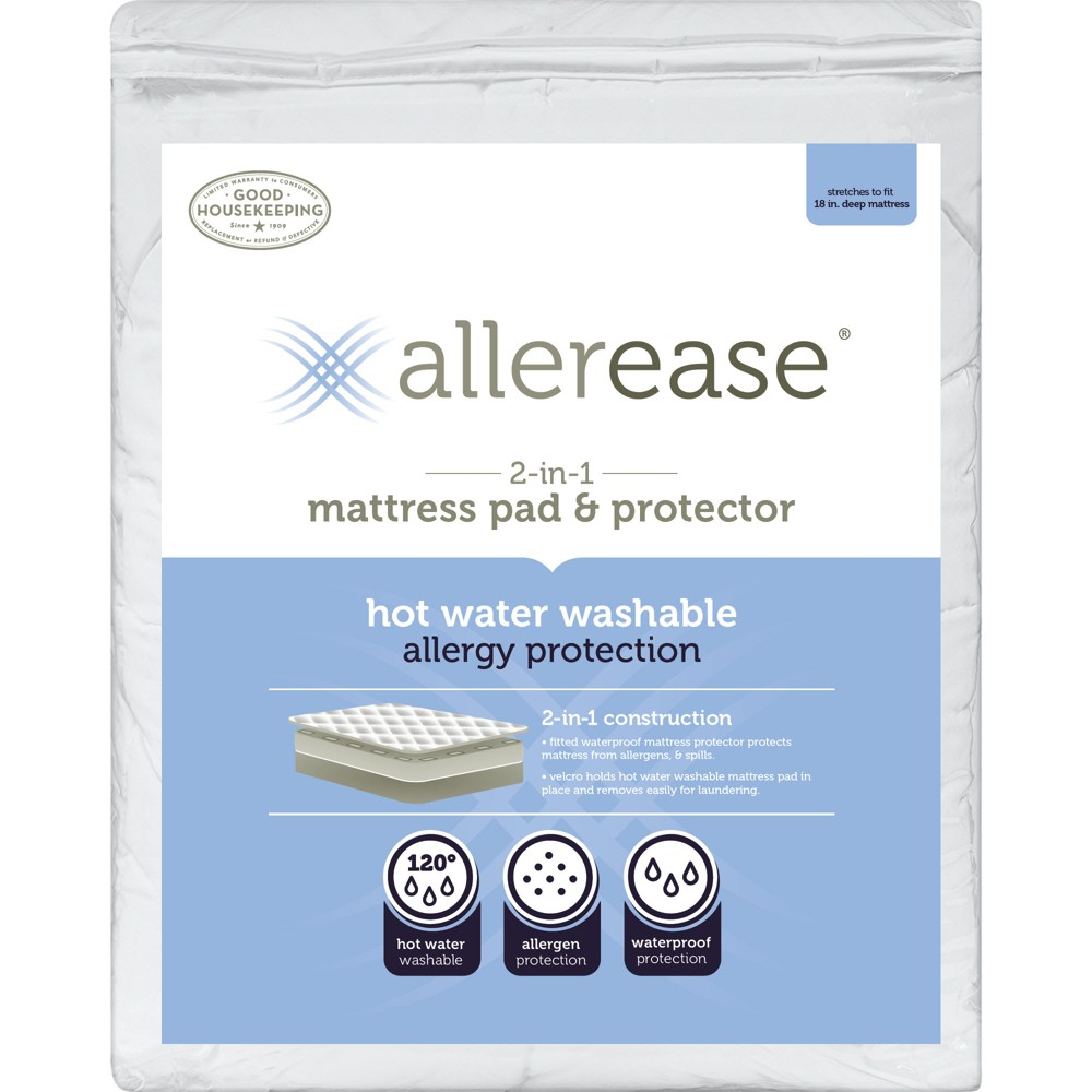 Image of AllerEase 2-in-1 Waterproof Allergy Protection Mattress Pad-White (Full)