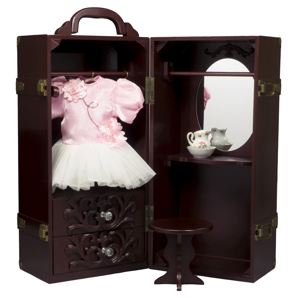 The Queen's Treasures 18 Inch Doll Furniture, Mahogany Clothes Storage Trunk,Vanity,4 Hangers Fits 2 Dolls