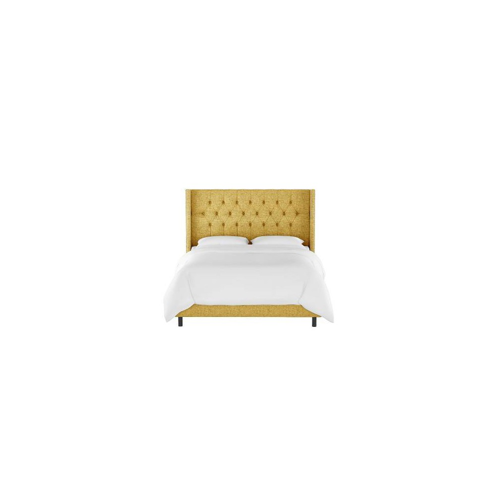 Twin Louis Diamond Tufted Wingback Bed Golden Yellow Linen With Pewter Nail Buttons Skyline Furniture