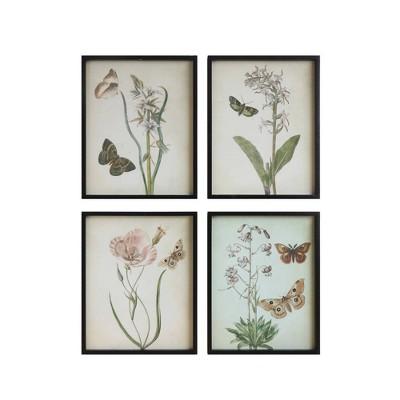 Set of 4 Designs Flowers and Butterflies Decorative Framed Wall Art - 3R Studios