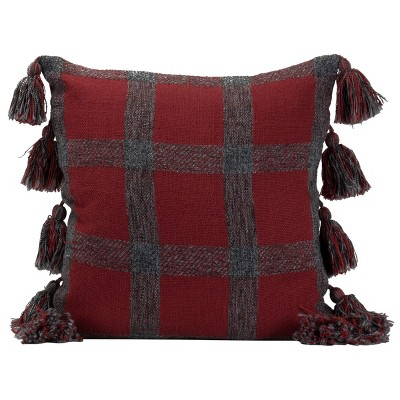 "Plaid Hand Woven 18x18"" Decorative Cotton Throw Pillow with Hand Tied Tassels - Foreside Home & Garden"