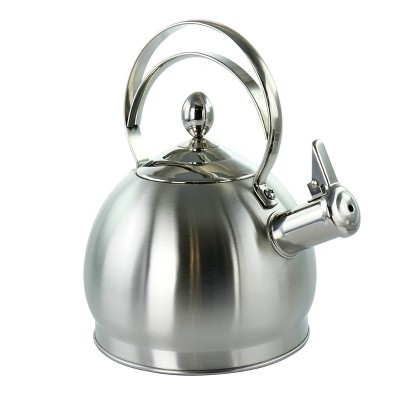 MegaChef 2.8L Round Stovetop Whistling Kettle - Brushed Silver