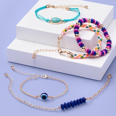Girls' 5pk Turquoise Stone Bracelet Set - More Than Magic™
