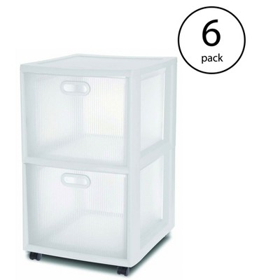 Sterilite 36208002 Ultra 2 Drawer Portable Rolling Storage Cart, White (6 Pack)