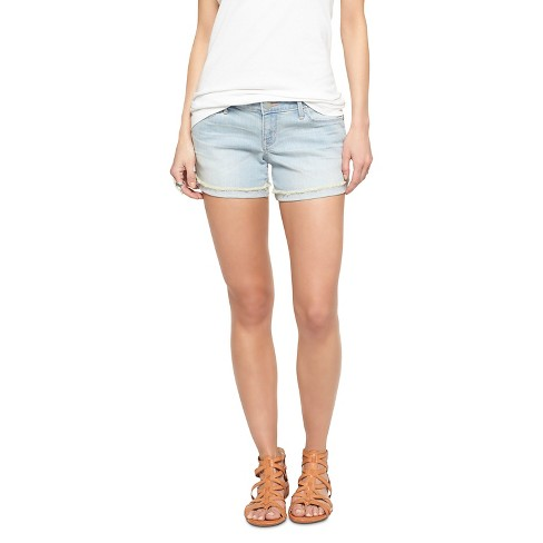 Women's Low Rise Midi Jean Shorts Single  - Mossimo™ Fold Hem Nevada 0 - image 1 of 2