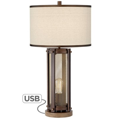 Franklin Iron Works Farmhouse Table Lamp with USB and Nightlight LED Edison Bulb Antique Brass White Shade for Living Room Bedroom