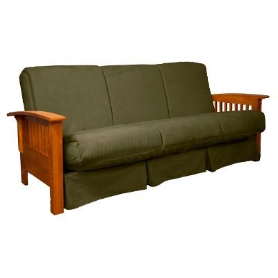 Craftsman Perfect Futon Sofa Sleeper   Medium Oak Wood Finish   Sit N Sleep