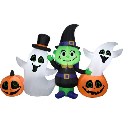 Gemmy Airblown Witch w/Ghost and Pumpkins Collection Scene , 4 ft Tall, Multicolored