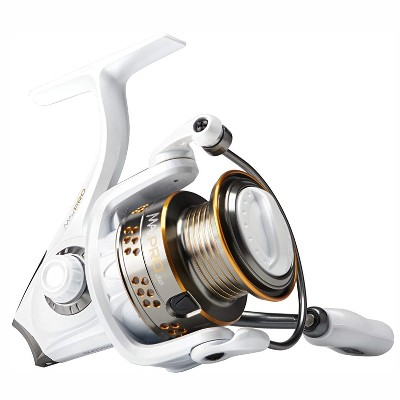 Abu Garcia MAXPROSP5 Max Pro Spinning Aluminum Lightweight Right and Left Handed Front Drag Fishing Reel with Aluminum Spool, Size 5, White