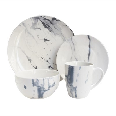 American Atelier 16pc Porcelain Marble Dinnerware Set White/Blue