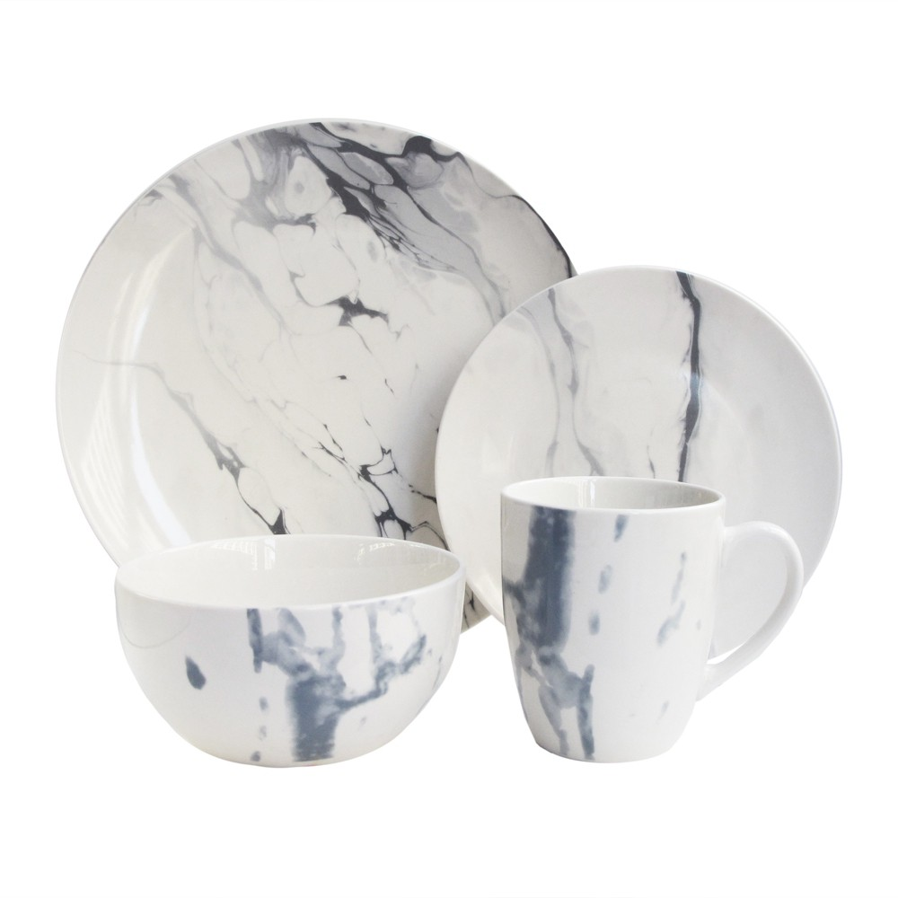 Image of American Atelier 16pc Porcelain Marble Dinnerware Set White/Blue