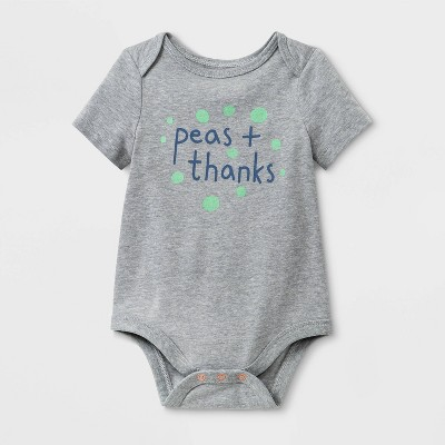 Baby Graphic Peas & Thanks Bodysuit - Cat & Jack™ Gray 3-6M