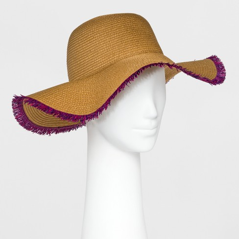 faef70706d47c7 Women's Straw With Purple Fringe Floppy Hat - A New Day™ Tan : Target