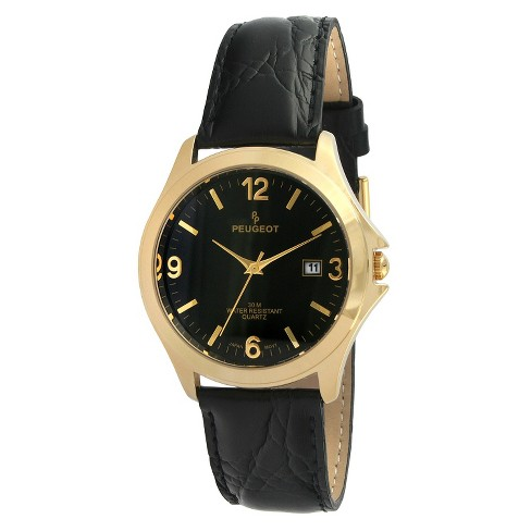 Men's Peugeot® Round Leather Strap Watch - Black - image 1 of 2