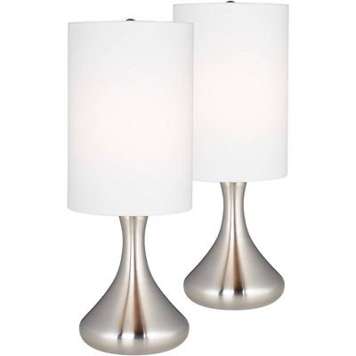 "360 Lighting Modern Accent Table Lamps 17"" High Set of 2 Brushed Steel Droplet Cylinder Drum Shade for Bedroom Bedside Office"
