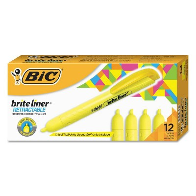 BIC 12pk Brite Liner Retractable Chisel Tip Highlighters - Yellow