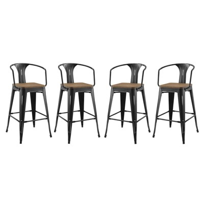 Set of 4 Promenade Barstool with Arms - Modway