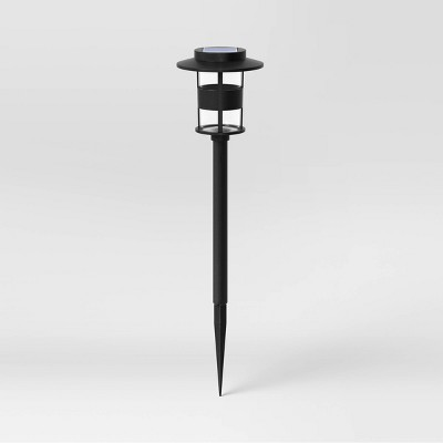 Cylinder Hooded Solar Pathway Light Black - Threshold™
