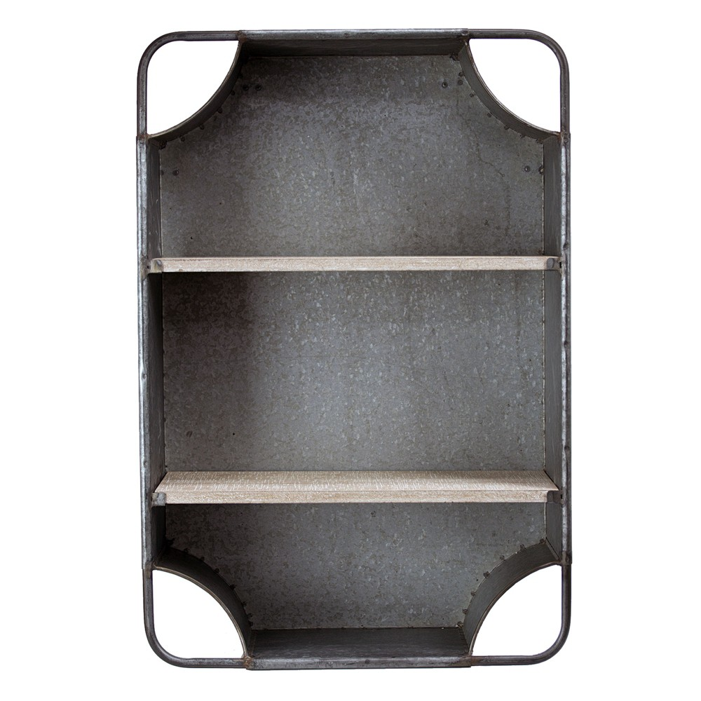 "Image of ""24.5"""" x 16.7"""" Decorative Galvanized Metal Wall Shelf Gray - E2 Concepts"""