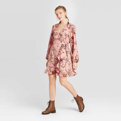 Women's Floral Print Long Sleeve V-Neck Wrap Mini Dress - Xhilaration™ Blush