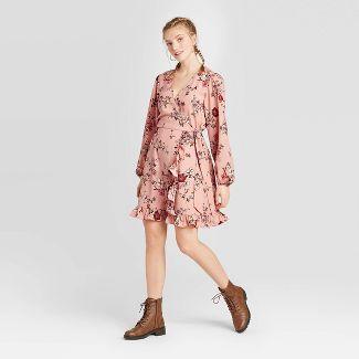 Women's Floral Print Long Sleeve V-Neck Wrap Dress - Xhilaration™ Blush S