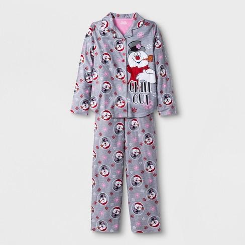 9289c08b6313 Girls  Frosty The Snowman 2pc Pajama Set - Gray   Target
