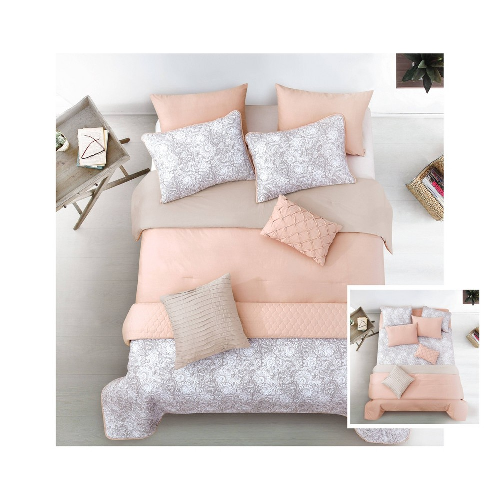 Riverbrook Home King Katie 8pc Layered Comforter & Coverlet Set Blush/Taupe, Gray Pink