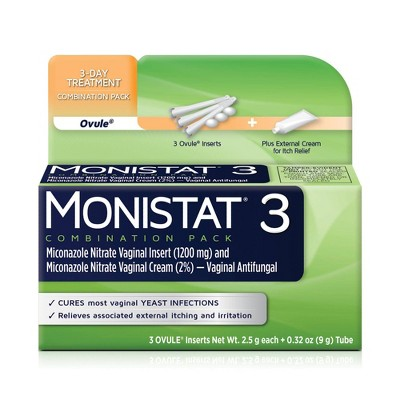 MONISTAT 3-Dose Yeast Infection Treatment, 3 Ovule Inserts & External Itch Cream