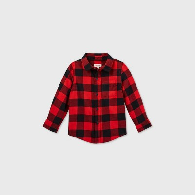 Toddler Boys' Buffalo Check Flannel Long Sleeve Button-Down Shirt - Cat & Jack™ Red