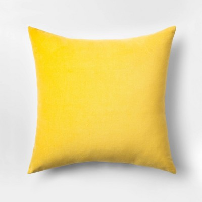 Velvet Square Throw Pillow Yellow - Room Essentials™