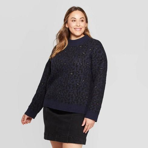 Women's Plus Size Leopard Print Long Sleeve Mock Turtleneck Pullover Sweater - Universal Thread™ Navy - image 1 of 3