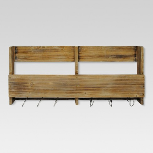 Wooden Shelf with S Hooks - Threshold™ - image 1 of 4