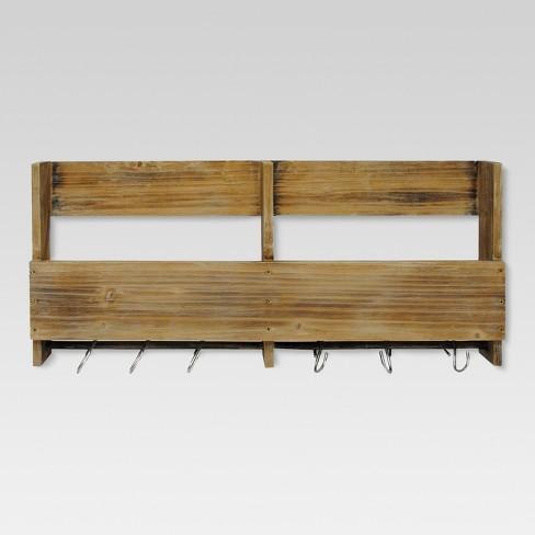 Wooden Shelf with S Hooks - Threshold™ - image 1 of 7