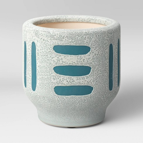 """4"""" Earthenware Ceramic Planter Striped Gray - Project 62™ - image 1 of 4"""