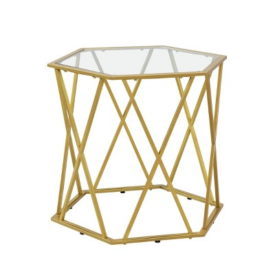 Lennon Octagonal Glass Top Accent Table Gold - Carolina Chair & Table