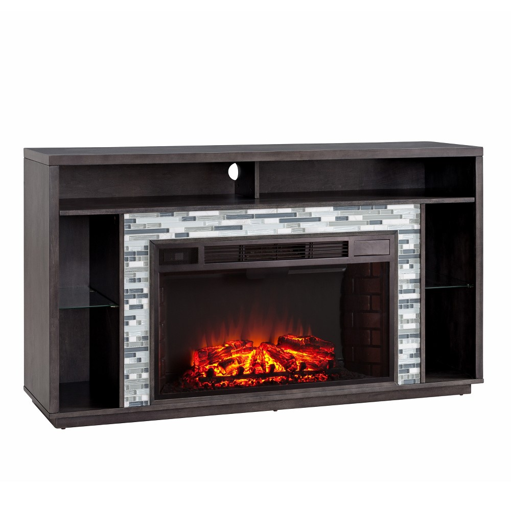 Calsworth Glass Tiled Media Fireplace Walnut/Gray (Brown/Gray) - Aiden Lane
