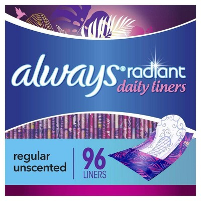Always Radiant Pantiliners Regular Wrapped Unscented - 96ct