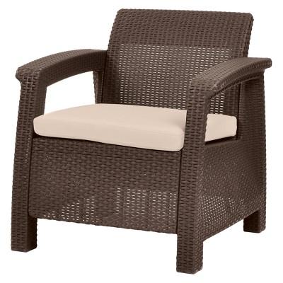 Corfu Resin Patio Armchair with Cushion - Brown - Keter