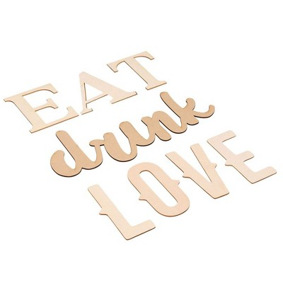 Genie Crafts Wood Quote Signs - Eat Drink Love Wood Letter Signs, Drawing Stencils Wall Decor