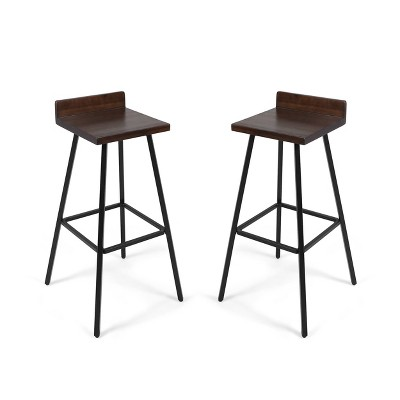 Set of 2 Bidwell Modern Wood Barstool Dark Brown - Christopher Knight Home