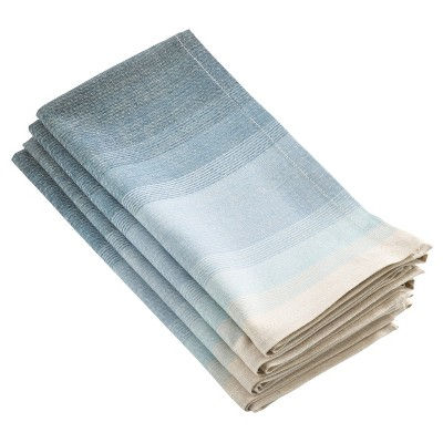 (Set of 4)Aqua Canaletto Ombre Design Napkin (20 )- Saro Lifestyle®